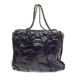 RARE! CHANEL Black Twisted Glazed Leather Tote Bag